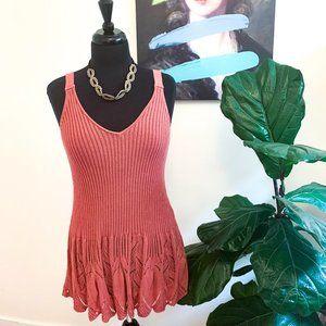 Dex | Pink Knit Lace Tunic Tank